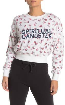 Spiritual Gangster Floral Logo Crop Sweatshirt