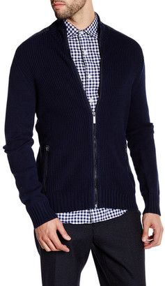 Kenneth Cole New York Ribbed Knit Full Zip Contrast Trim Sweater $80 thestylecure.com
