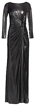 Rene Ruiz Collection Women's Ruched Side Slit Patent Glitter Long-Sleeve Gown
