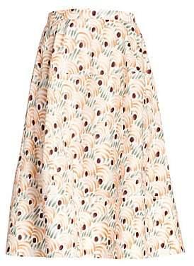 Marni Women's Cotton Valley Print Circle Midi Skirt