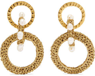 Lucy Folk Pharaoh Gold-plated, Pearl And Lurex Earrings