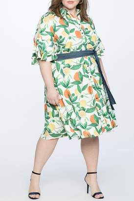 ELOQUII Flounce Sleeve Printed Shirt Dress (Plus Size)