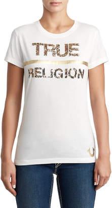 True Religion WOMENS SEQUIN METALLIC LOGO TEE