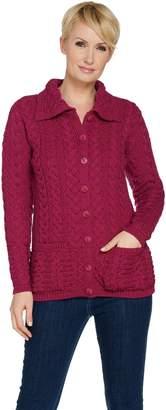 Aran Craft Merino Wool Long Sleeve Cardigan with Shawl Collar