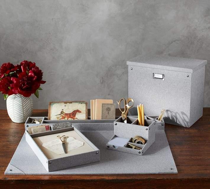 Grey Blythe Linen Desk Accessories, Tall File Box