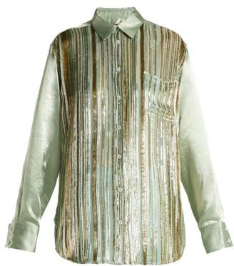Sies Marjan Sander Velvet Stripe Silk Blend Shirt - Womens - Light Green