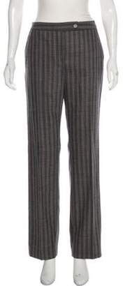 Valentino Wool Mid-Rise Wide-Leg Pants Grey Wool Mid-Rise Wide-Leg Pants