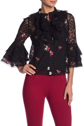Gracia Crew Neck Floral Embroidered Sheer Blouse