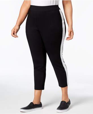 INC International Concepts I.n.c. Plus Size Racing-Stripe Skinny Pants, Created for Macy's