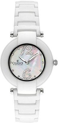Charmex Dynasty 6270 35 mmセラミックケースセラミックホワイトSynthetic Sapphire Women 's Watch