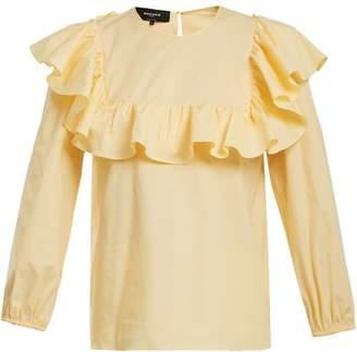 Rochas - Round Neck Ruffled Cotton Blend Top - Womens - Light Yellow