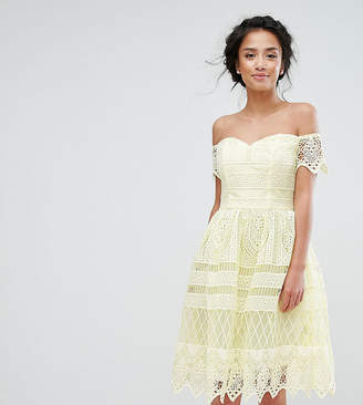 Chi Chi London Petite Chi Chi Petite Premium Lace Off The Shoulder Paneled Lace Midi Dress