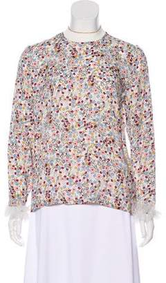 Mother of Pearl Long Sleeve Floral Print Top