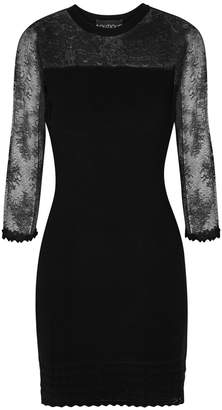 Moschino Black Ribbed And Stretch-lace Dress