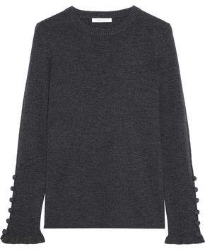 See by Chloe Button-Detailed Mélange Ribbed Wool Sweater