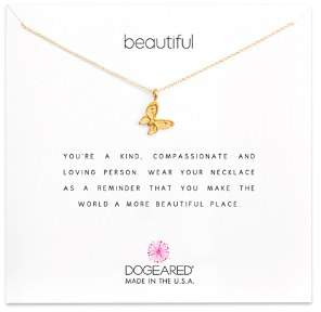 """Dogeared 14K Gold-Dipped Butterfly Necklace, 16"""""""