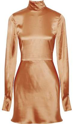 Acne Studios Ellie Vi Satin Turtleneck Mini Dress