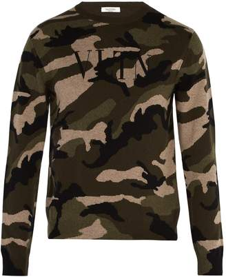 Valentino Logo-intarsia cashmere sweater