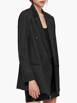 AllSaints Isla Pinstripe Double Breasted Blazer, Charcoal Grey