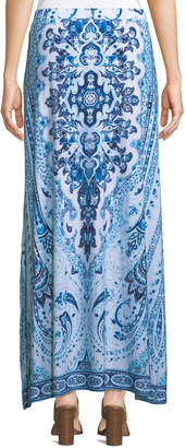 Joan Vass Tile-Print Side-Slit Maxi Skirt
