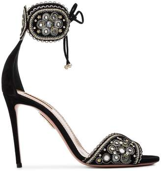 Aquazzura Black Jaipur 75 Suede sandals