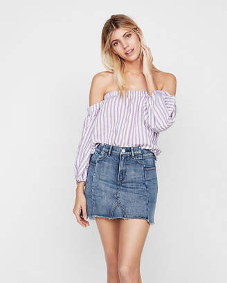 Express Petite Striped Off The Shoulder Balloon Sleeve Blouse
