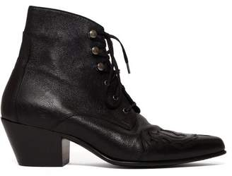 Saint Laurent Rebecca Western Leather Ankle Boots - Womens - Black