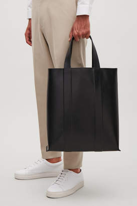 Cos STRUCTURED LEATHER TOTE BAG