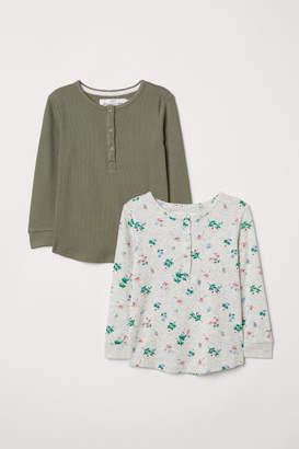 H&M 2-pack Tops with Buttons - Green