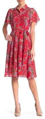 Nanette Lepore NANETTE Short Sleeve Waist Tie Floral Print Dress