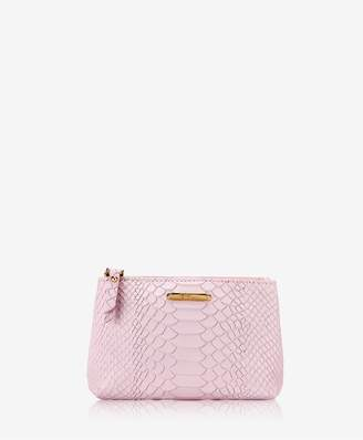 GiGi New York Small Cosmetic Case In Petal Pink Embossed Python