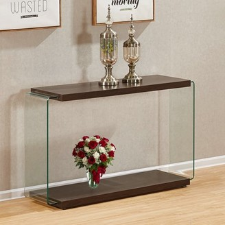 clear Best Quality Furniture Walnut Color Console Table With Side Glass Supports CT115