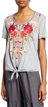 Johnny Was Burke Scoop-Neck Short-Sleeve Knot-Front T-Shirt, Plus Size
