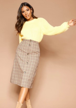 Missy Empire Missyempire Saima Checked Button Up Midi Skirt