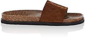 Saint Laurent Women's Joan Suede Slide Sandals - Camel