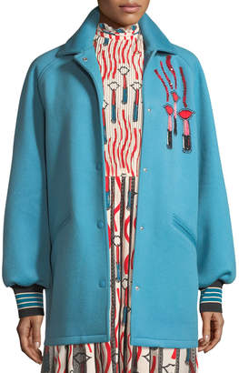 Valentino Snap-Front Oversized Felted Wool with Lipstick Wave Embroidery