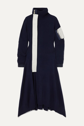 Sacai Nylon-trimmed Wool Turtleneck Midi Dress - Navy