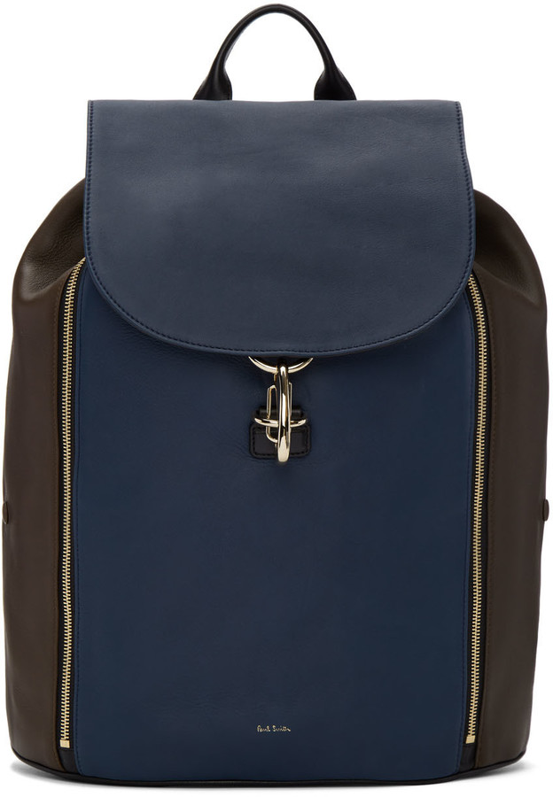 Paul Smith Paul Smith Tricolor Leather Drawstring Backpack