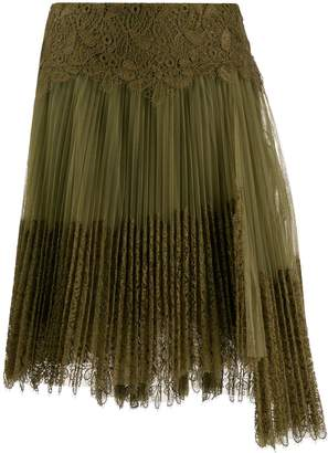 Ermanno Scervino pleated lace midi skirt