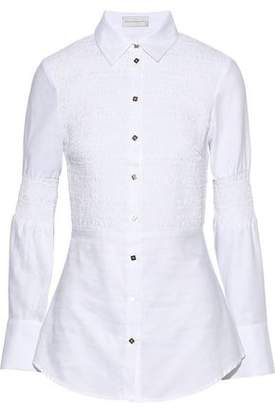 Rebecca Vallance Alexa Shirred Cotton-Poplin Shirt