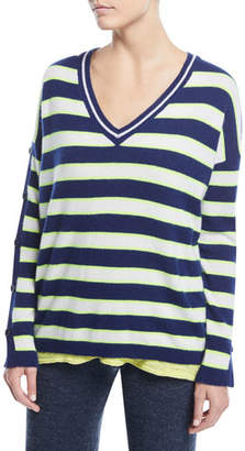 Minnie Rose Stripe Cashmere Button-Sleeve Sweater