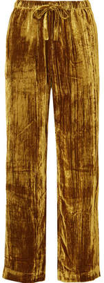 Stine Goya Aileen Crushed-velvet Pants - Gold