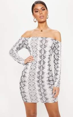 PrettyLittleThing Grey Snake Print Long Sleeve Bardot Bodycon Dress