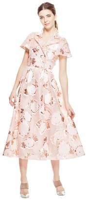 Lela Rose Floral Fringe Fil Coupe Button Front Shirt Dress