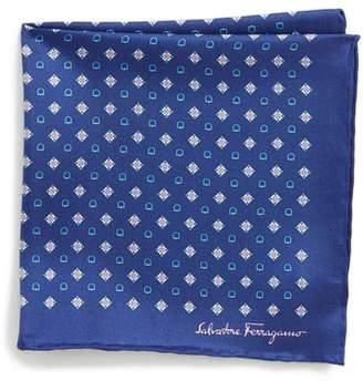 Salvatore Ferragamo Edison Medallion Silk Pocket Square