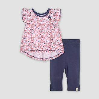 Burt's Bees Baby® Baby Girls' Organic Cotton Daisy Floral Fields Tunic & Capri Leggings Set - Pink/Black
