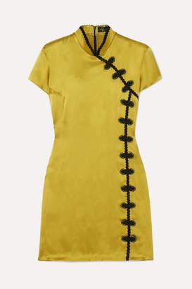 De La Vali Suki Appliquéd Satin Mini Dress - Chartreuse