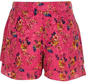 River Island Girls Pink floral jacquard shorts
