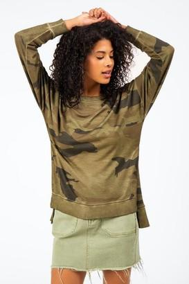 francesca's Cheynne Side Slit Camouflage Top - Dark Olive