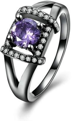 Anazoz Black Gold Plated Cubic Zirconia Women Wedding Ring Band Size 9